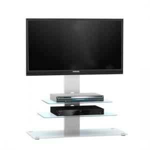 Kelbourne LCD TV Stand In White Glass With White Metal And LED