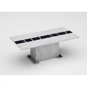 Sonati Marble Effect Coffee Table In White With Steel Base