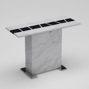 Sonati White Console Table In Marble Effect With Steel Base