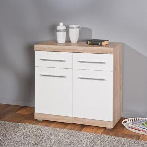 Metford 2 Door Sideboard In Oak With White Gloss Fronts_1