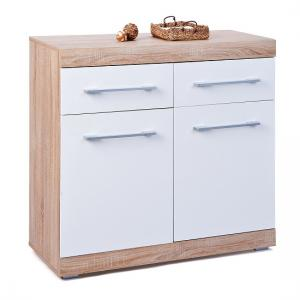 Metford 2 Door Sideboard In Oak With White Gloss Fronts_3