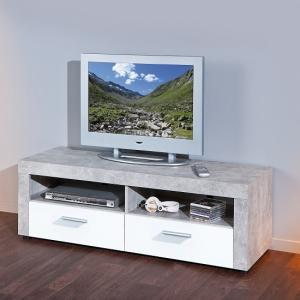 Croagh TV Stand In Light Grey With 2 Drawers In White Fronts