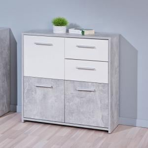 Nicole Compact Sideboard In Light Grey And White With 3 Doors_1