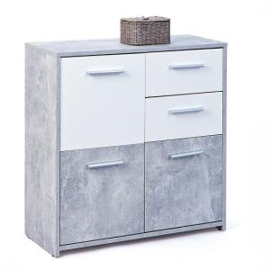 Nicole Compact Sideboard In Light Grey And White With 3 Doors_2