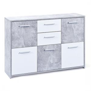Lamont Sideboard In Light Grey And White With 5 Doors 2 Drawers_2