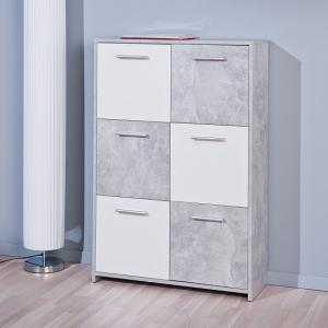 Monterey Sideboard In Light Grey And White With 6 Doors