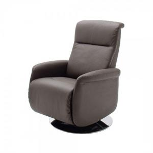 Almeida Rotating Reclining Chair In Brown Leather And Metal Base