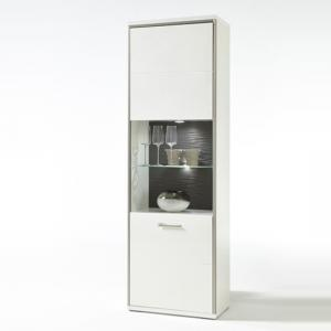 Libya Glass Left Display Cabinet In White Gloss And LED Lighting