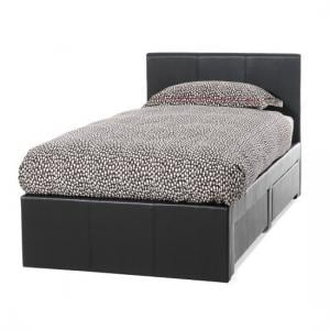 Lanolin Single Bed In Brown Faux Leather With 2 Drawers