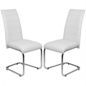 Daryl Dining Chair In White PU Leather in A Pair