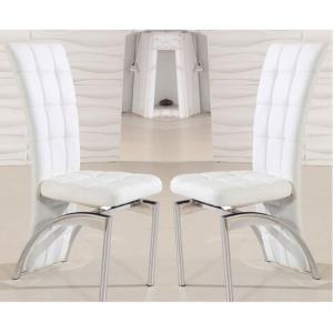 Ravenna Dining Chair In White Faux Leather in A Pair