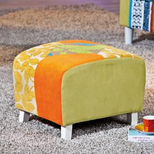 Benton Small Stool In Multicolour Patchwork With Wooden Legs