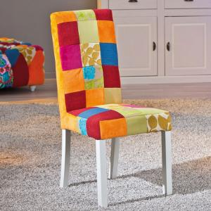 Benton Dining Chair In Multicolour Patchwork With Wooden Legs