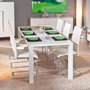 Rossetto Extendable White Gloss Dining Table And 8 Mestler Chair