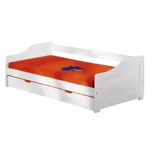 Leonie Large Day Bed With Pull Out UnderBed In Solid Wood White
