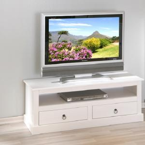 Stanley LCD TV Stand In White With 2 Drawers