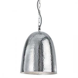 Hammered Chrome Finish Shiny Nickel Bell Beaten Ceiling Pendant