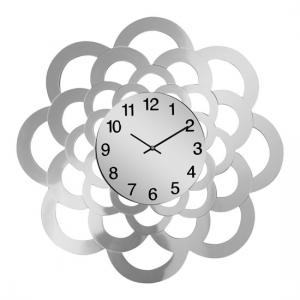 Baltic Modern Wall Clock In Glass With Mirrored Sunflower