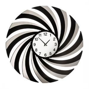 Phantom Swirl Wall Clock In Black Mirrored Glass And Acrylic