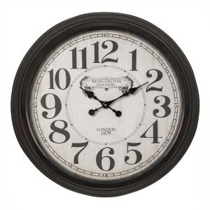 Denton Classic Wall Clock In Black With Glass
