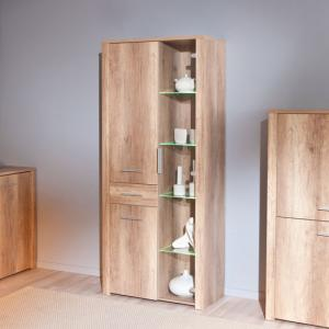 Utopia Glass Display Cabinet In Wild Oak With 3 Doors And LED