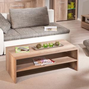 Utopia Wooden Coffee Table In Wild Oak With Undershelf