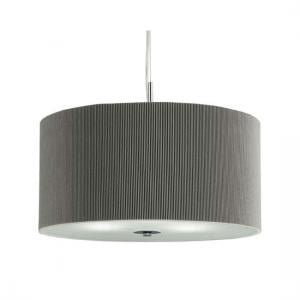 3 Light Silver Drum Pendant With Frosted Glass Diffuser