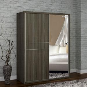 Janet Oak Finish 2 Door Sliding Wardrobe With One Mirrored Door