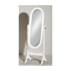 Oval Wooden Cheval Floor Standing Mirror In White