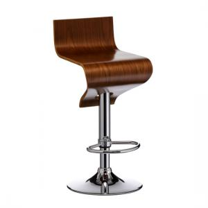 Diablo Wooden Bar Stool In Walnut With Gaslift Action