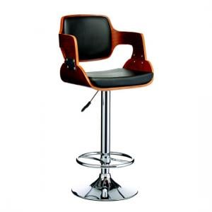 Maddison Bar Stool In Black And Walnut With Chrome Base