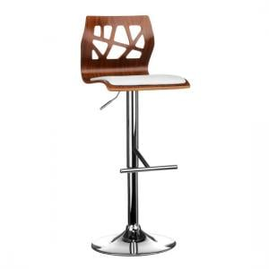 Surface Bar Stool In White And Walnut With Chrome Base