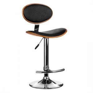 Break Bar Stool In Black Faux Leather With Chrome Base