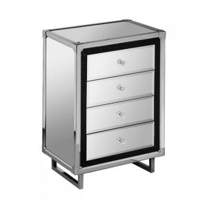 Medio Mirror Effect Top 4 Drawer Chest With Metal Frame