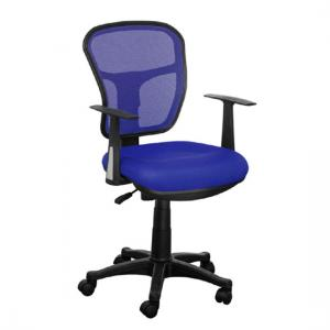 Santo Blue Padded Fabric Seat With Mesh Back Rest Office Chair