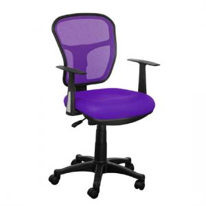 Santo Purple Padded Fabric Seat With Mesh Back Rest Office Chair