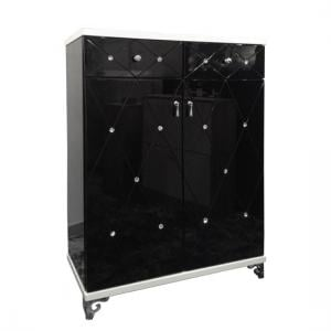 Delano Sideboard In Black And White Gloss With Diamante Details