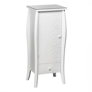 Flair Large Bedside Cabinet In White With Glass Top