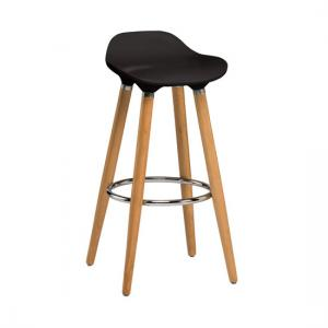 Adoni Bar Stool In Black ABS With Natural Beech Wooden Legs
