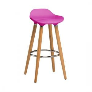 Adoni Bar Stool In Pink ABS With Natural Beech Wooden Legs