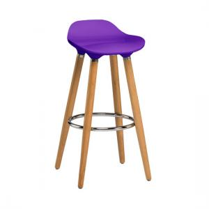 Adoni Bar Stool In Purple ABS With Natural Beech Wooden Legs
