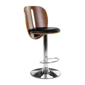 Wesley Bar Stool In Black Faux Leather With Chrome Base
