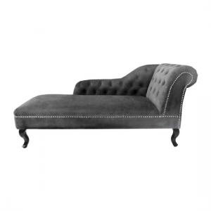 Remo Chesterfield Chaise Lounge In Grey Velvet And Right Armrest