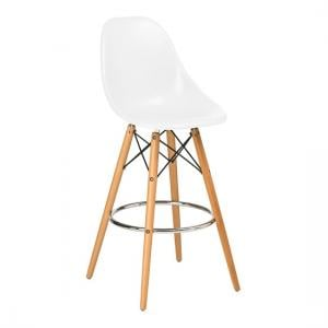 Windsor Bar Chair In White ABS With Wooden Legs