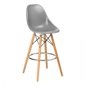 Windsor Bar Chair In Grey ABS With Wooden Legs