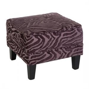 Wembley Foot Stool In Purple Fabric With Wooden Legs