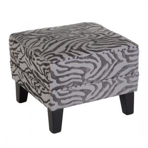 Wembley Foot Stool In Grey Fabric With Wooden Legs