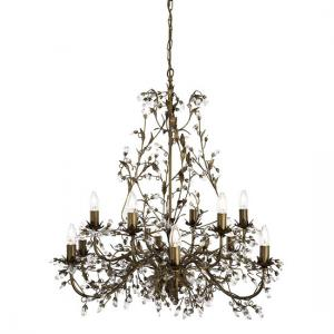 Almandite Brown And Gold Ceiling Light With Crystal Dressing