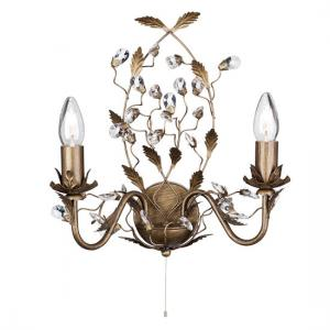 Almandite Brown and Gold Wall Light With Crystal Droplets