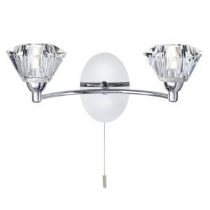 Sierra Chrome Wall light With Sculptured Clear Glass Shade